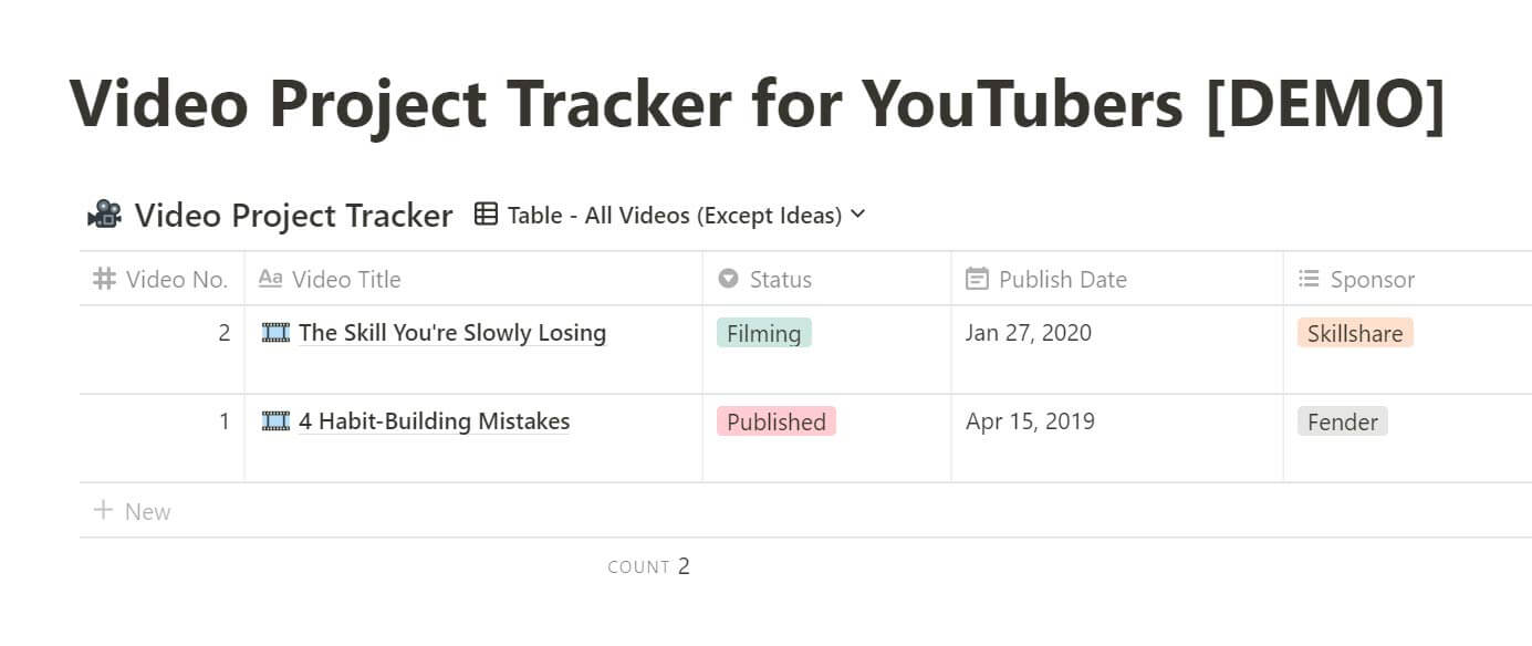 Video Project Tracker in Notion