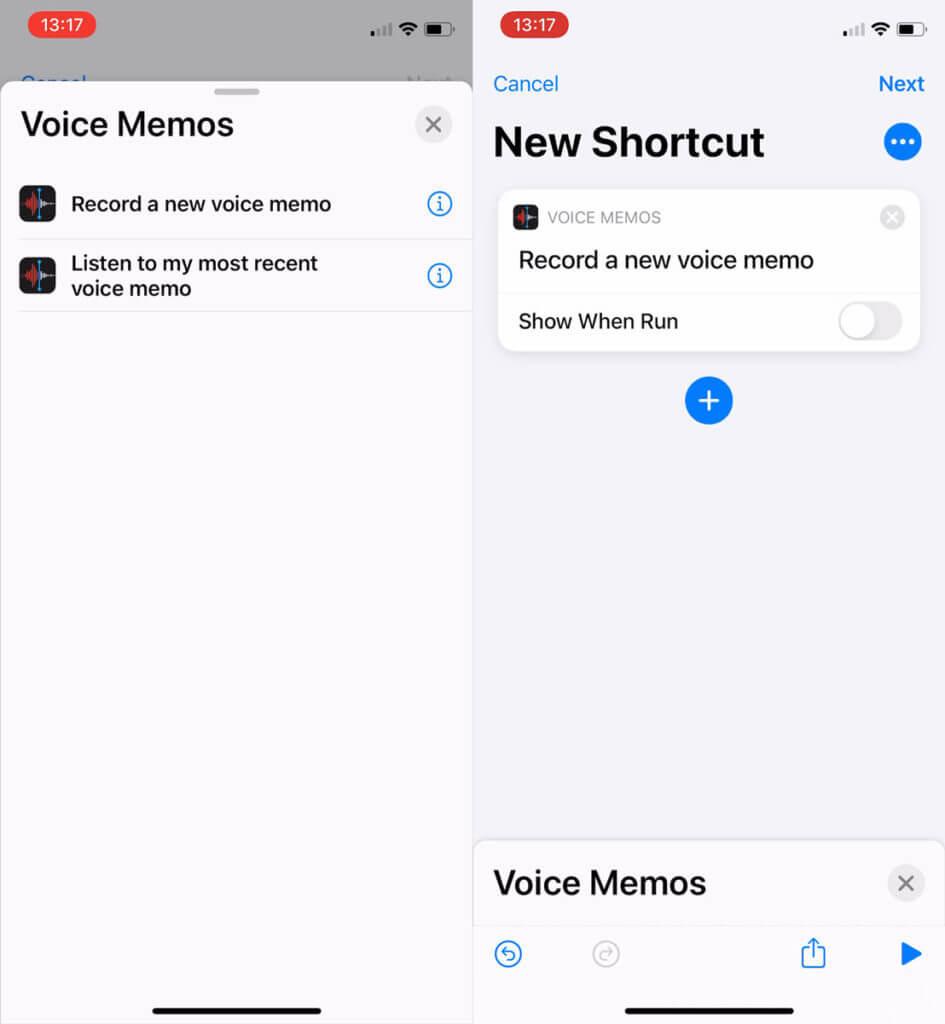 Shortcut to record a voice memo in iOS
