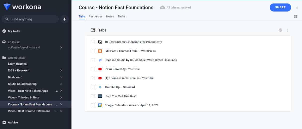 Workona browser extension screenshot