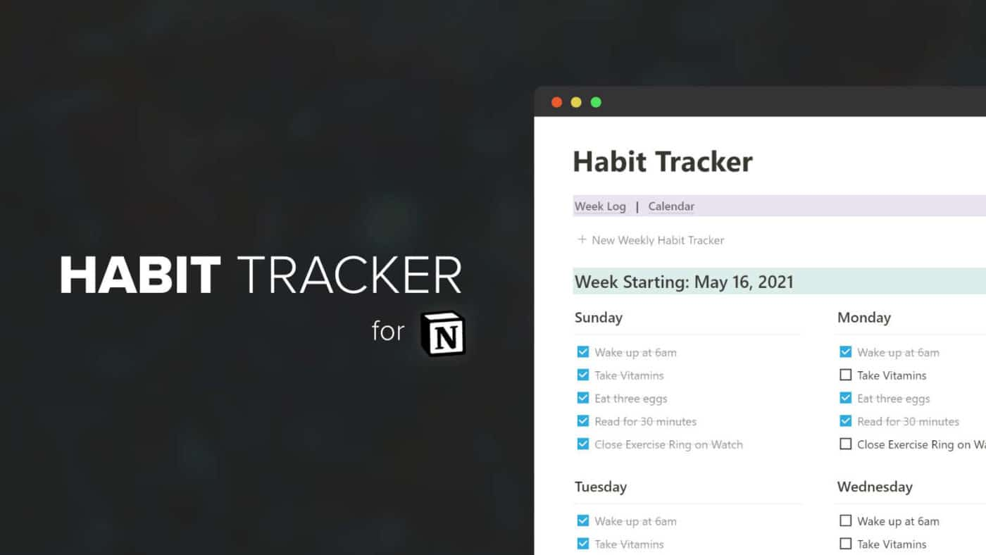 Habit Tracker template for Notion